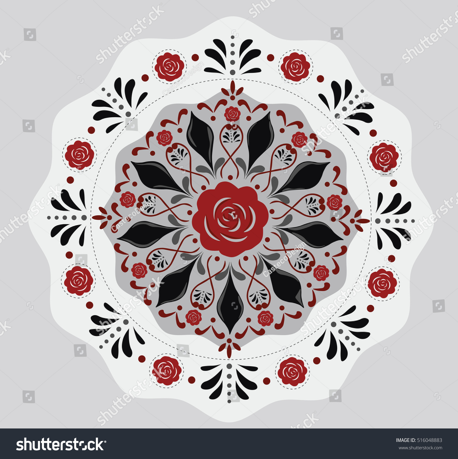 Vector Round Flowers Pattern Background Floral Stock Photo (Photo ...