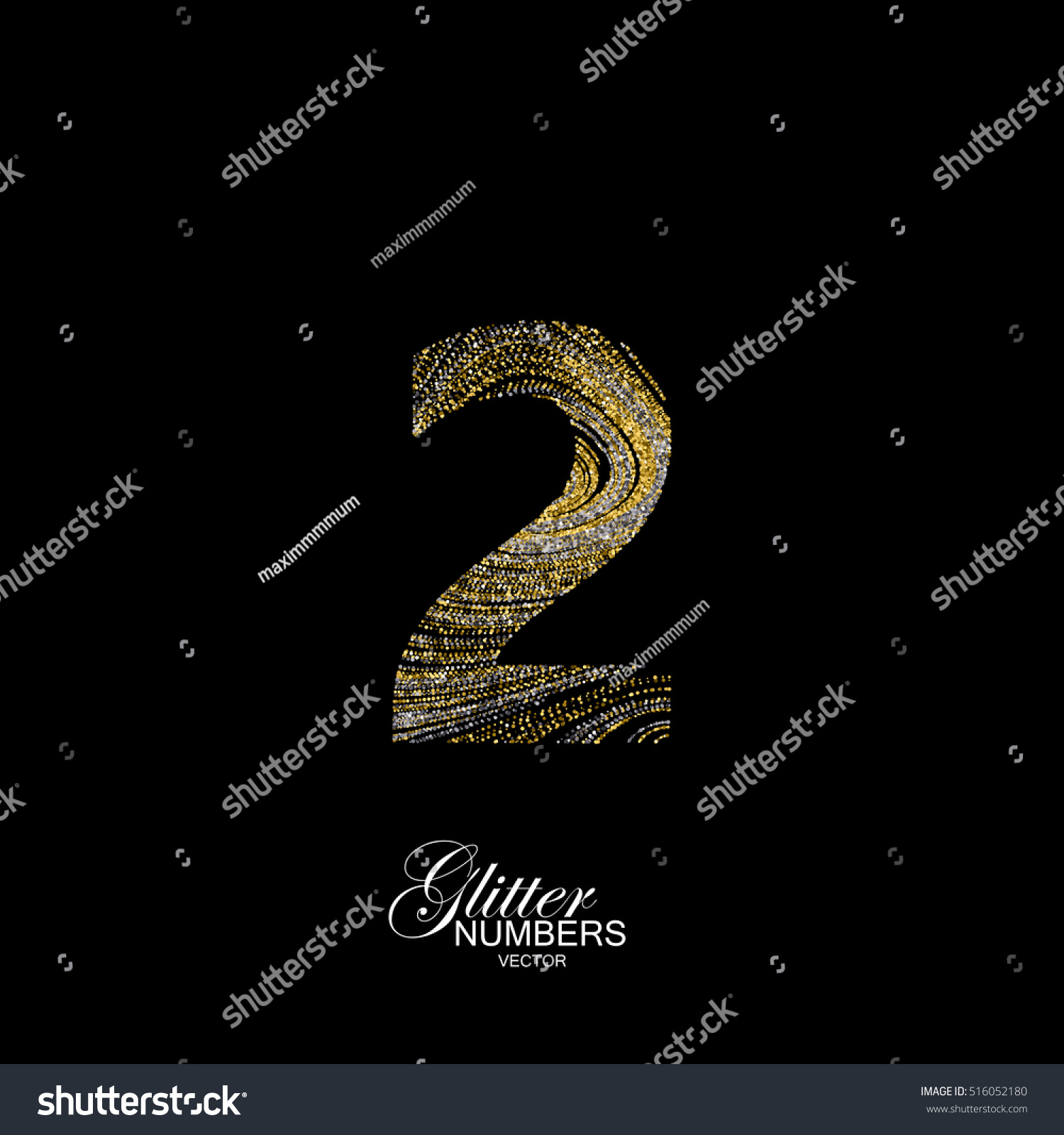 Number 2 golden silver glitters typographic stock vector 516052180 number 2 of golden and silver glitters typographic vector element for design part of buycottarizona