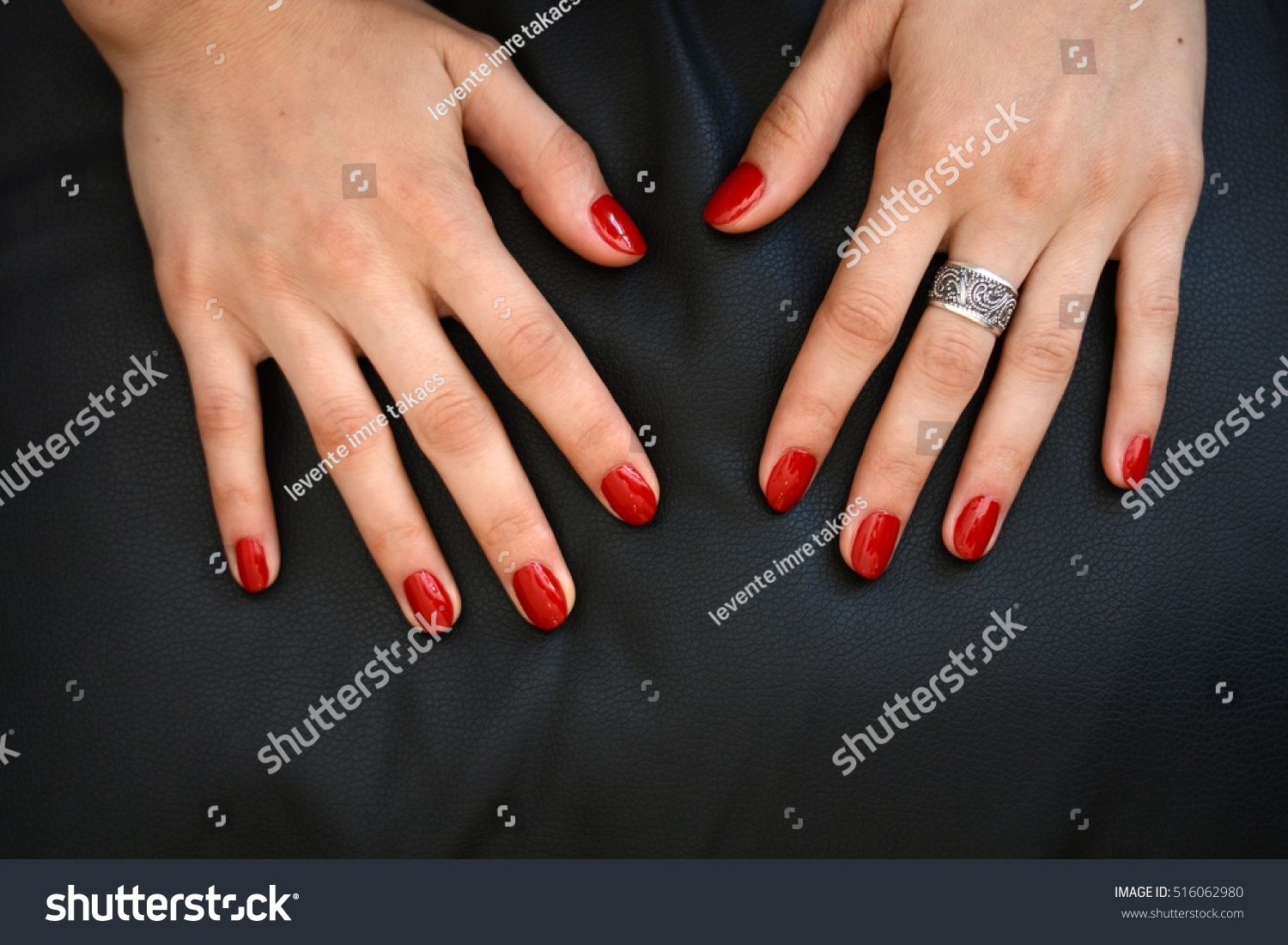 Red Nails On Black Background Natural Stock Photo (Download Now ...