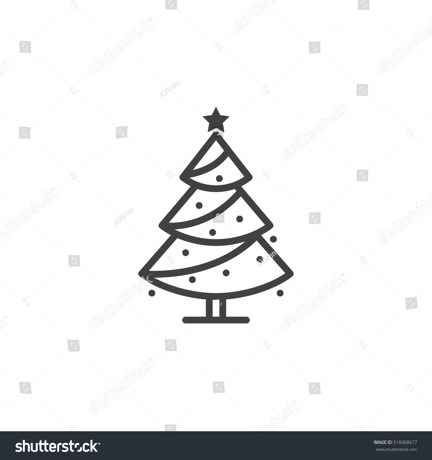 Christmas tree line icon decorated conifer stock vector