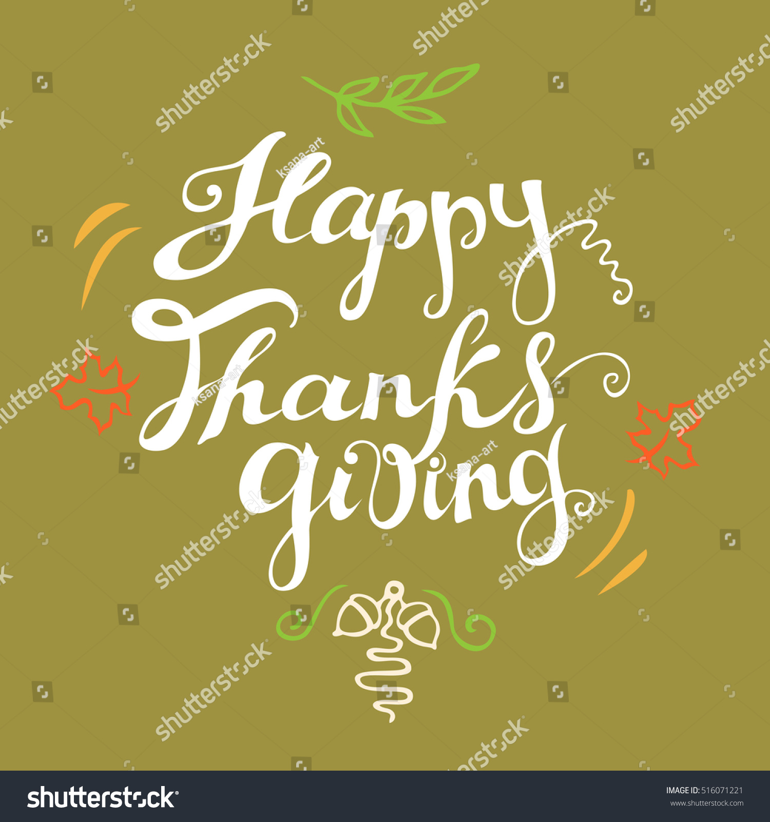Happy Thanksgiving Card Hand Drawn Celebration Stock Vector Royalty