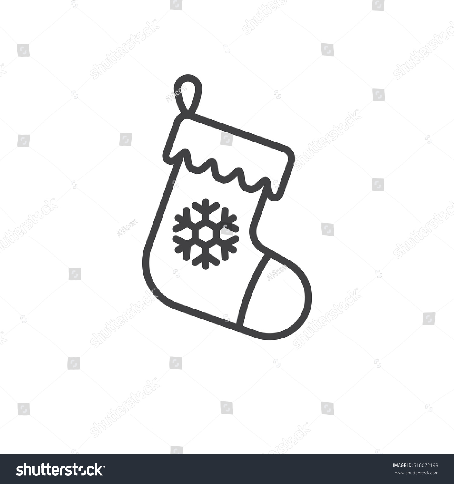 christmas stocking line icon outline vector stock vector 516072193