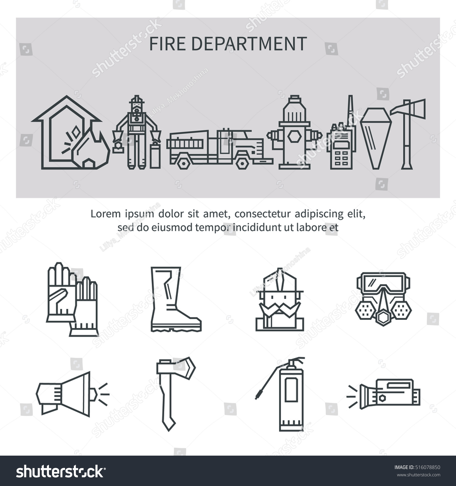 Set Icons Outline Fire Safety Flame Stock Vector Royalty Free