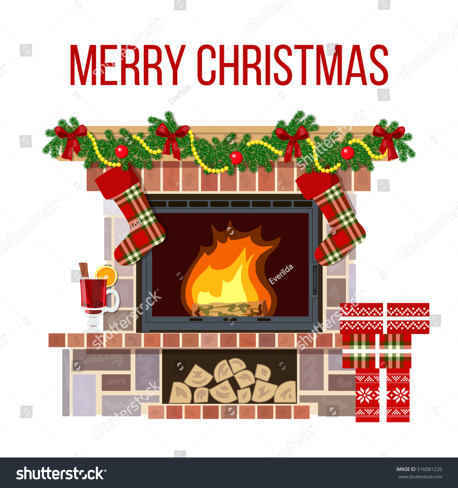 blazing christmas decorated fireplace cute cozy stock vector