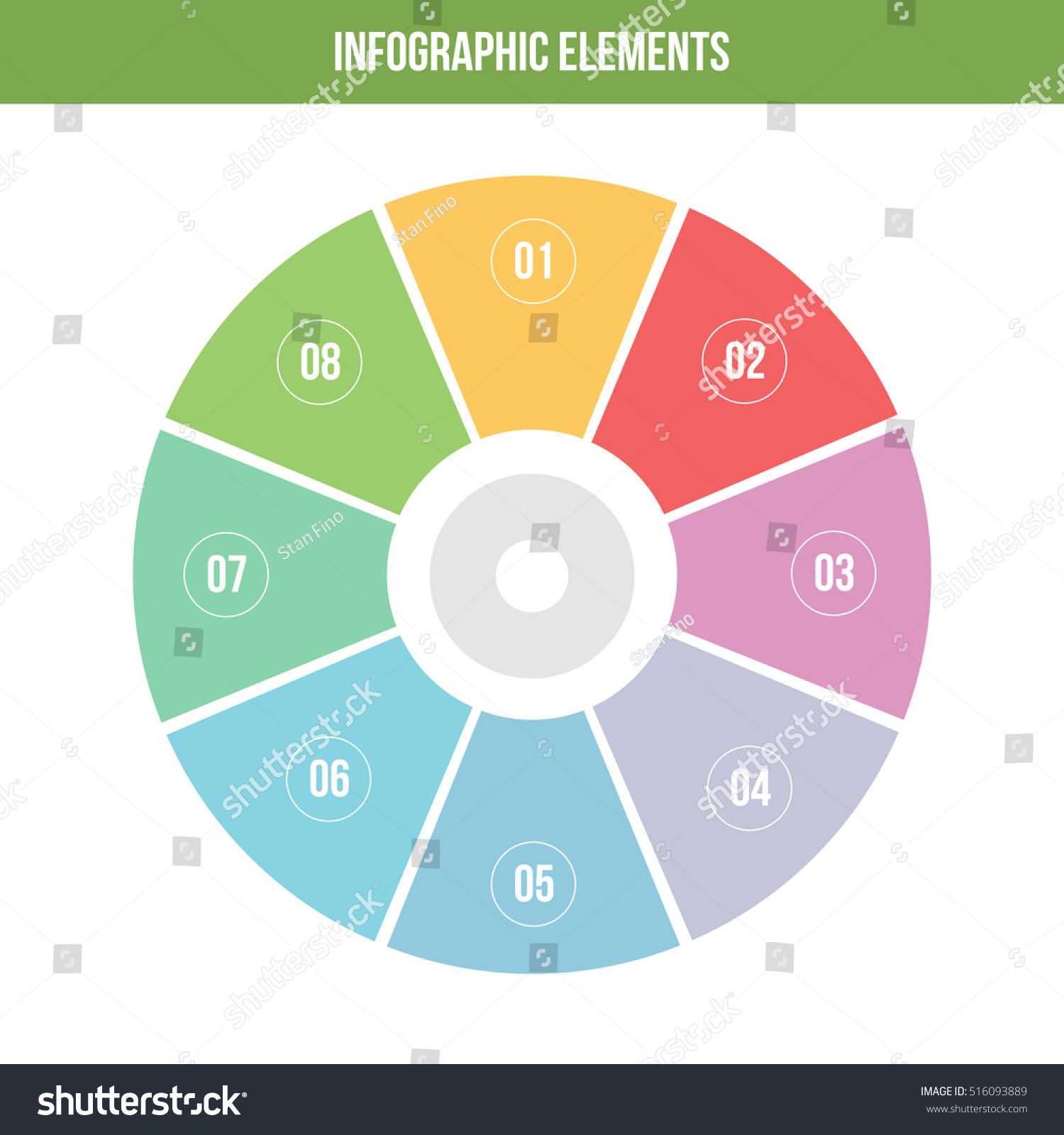 abstract pie chart 8 parts vector stock vector (royalty free