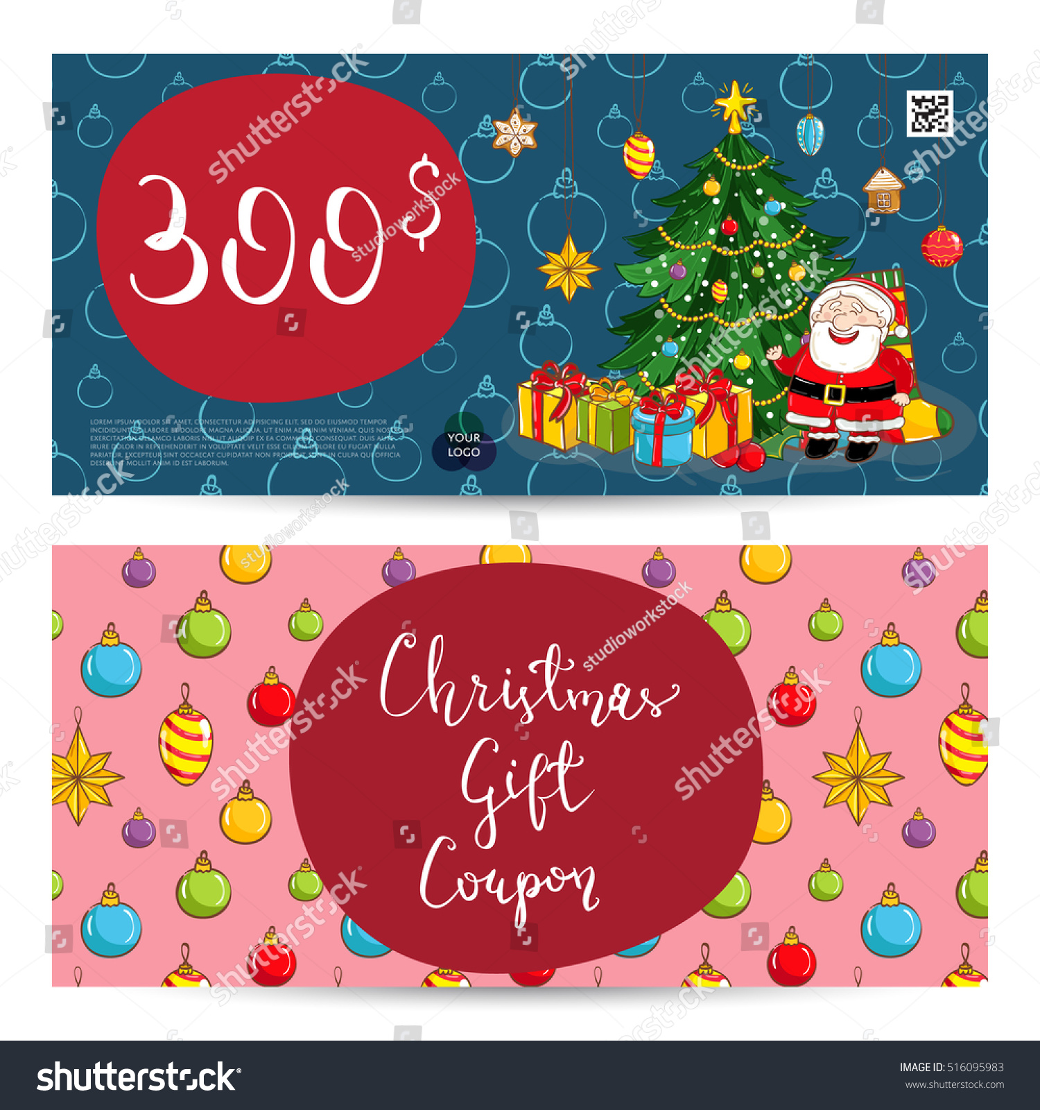 Christmas Gift Voucher Template Gift Coupon Stock Vector (Royalty ...