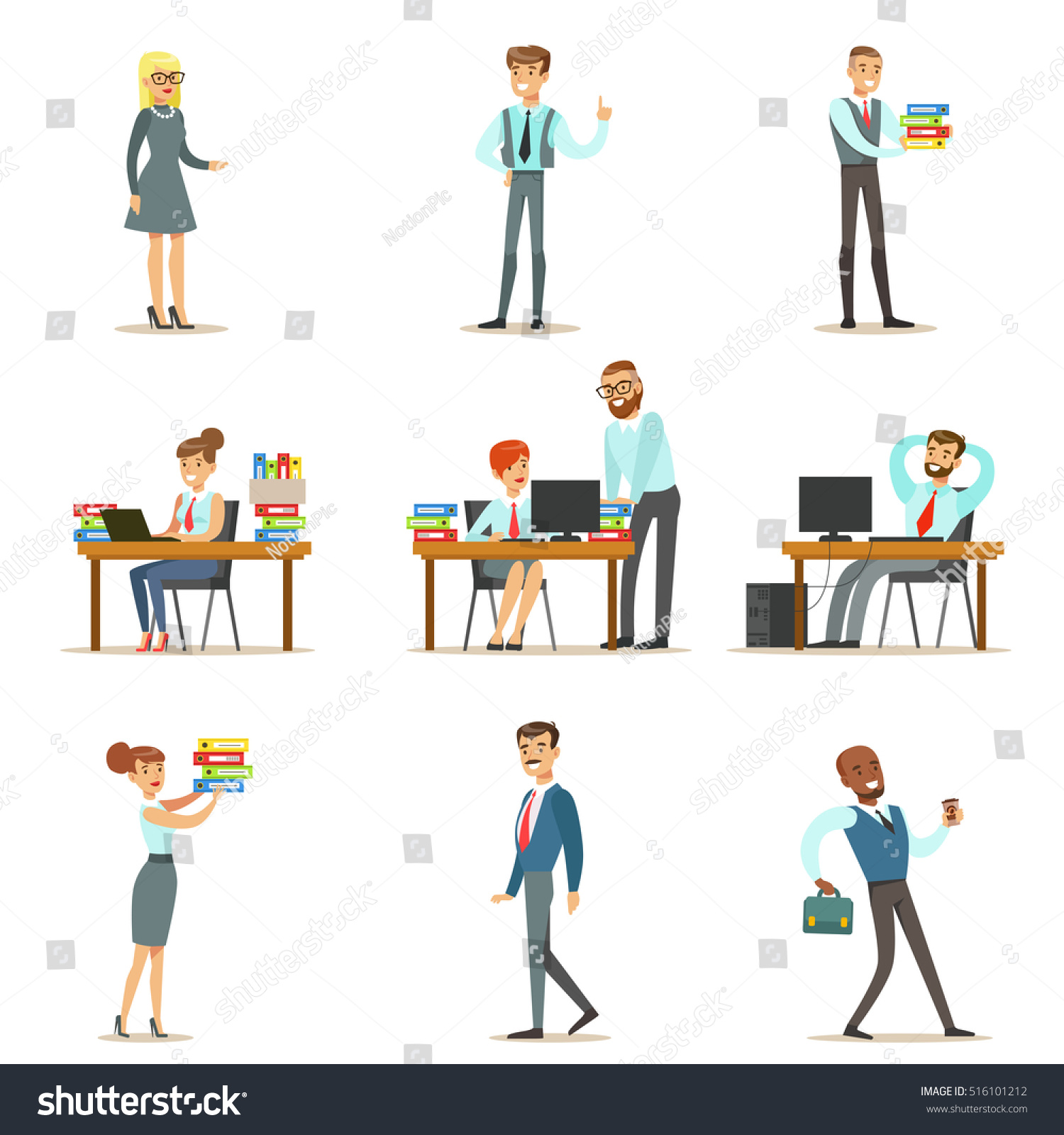 Employees Working on Computers Having a Meeting at Table - Download Free  Vectors, Clipart Graphics & Vector Art
