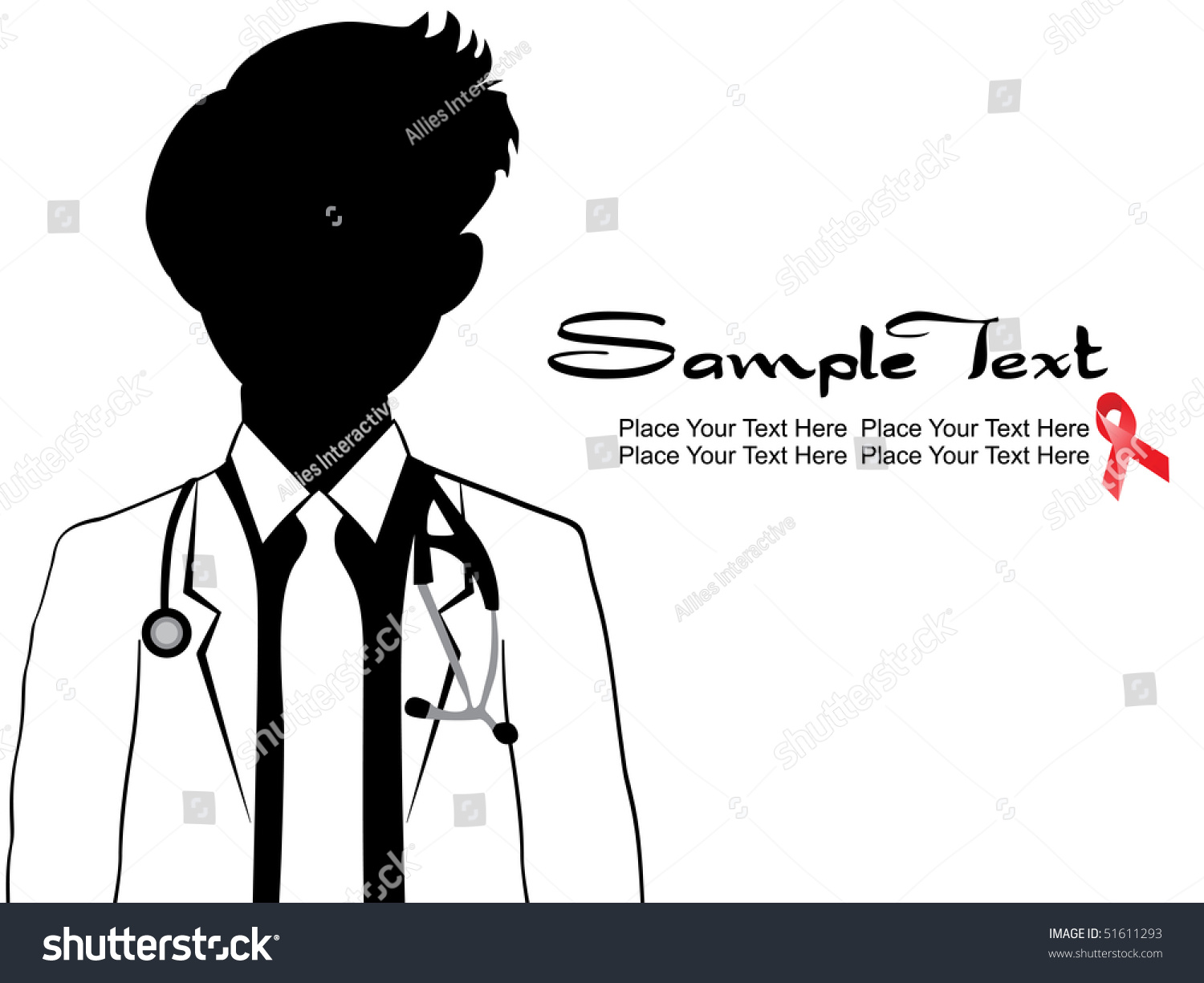 Medical Background With Doctor Silhouette, Hiv Ribbon ...