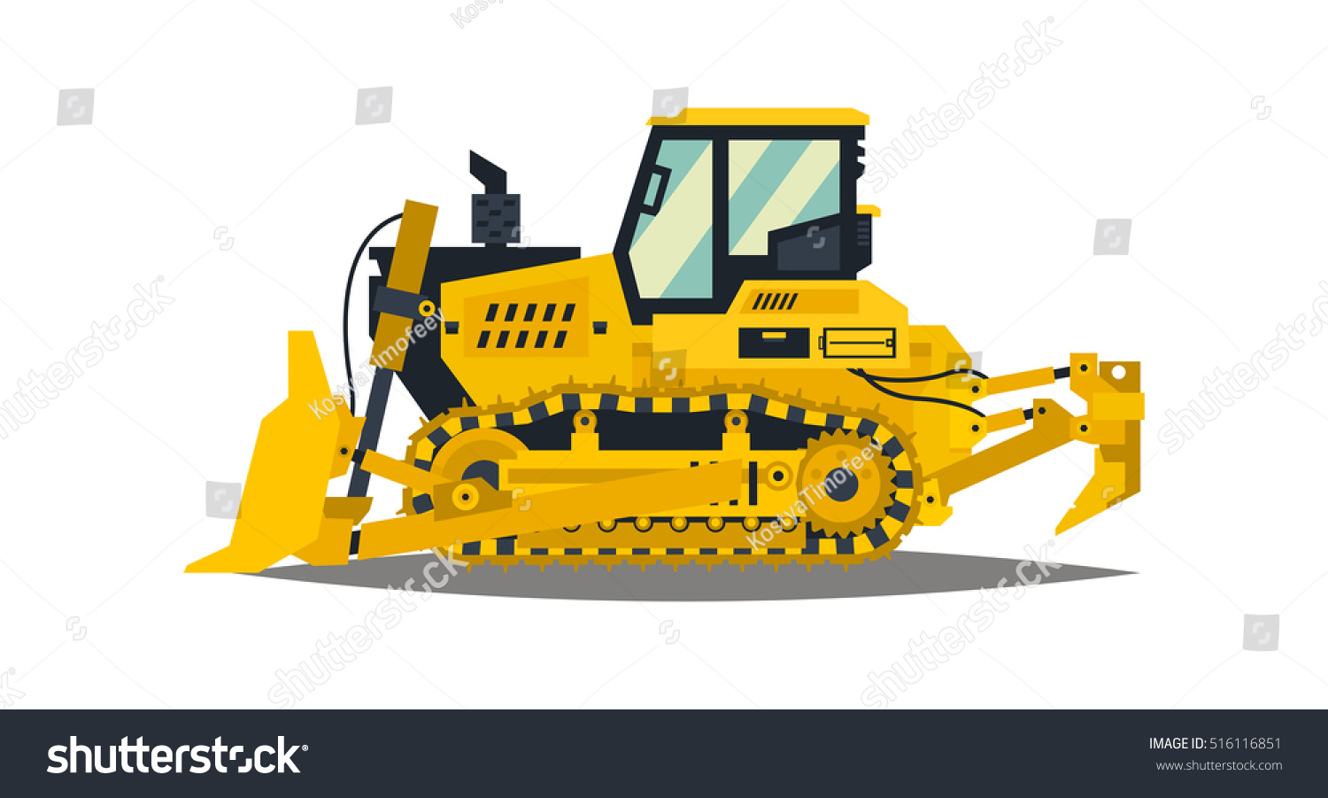 bulldozer tracked vehicles tractor yellow isolated stock vector