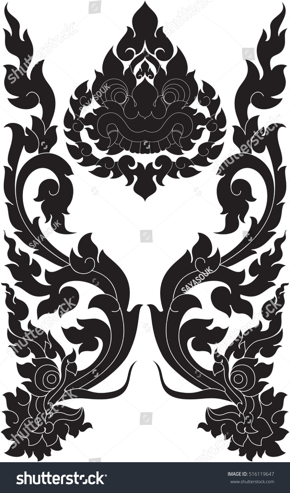 floral wings twins dragon heads giant stock vector 516119647 shutterstock. Black Bedroom Furniture Sets. Home Design Ideas