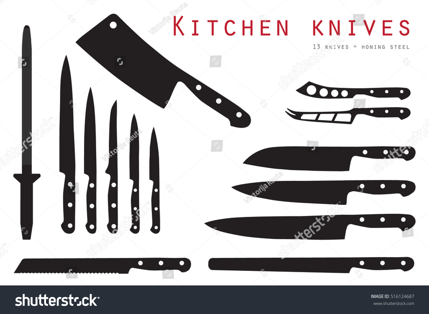 vector illustration meat cutting knives set stock vector 516124687 vector illustration meat cutting knives set set of butcher meat knives for butcher shop and