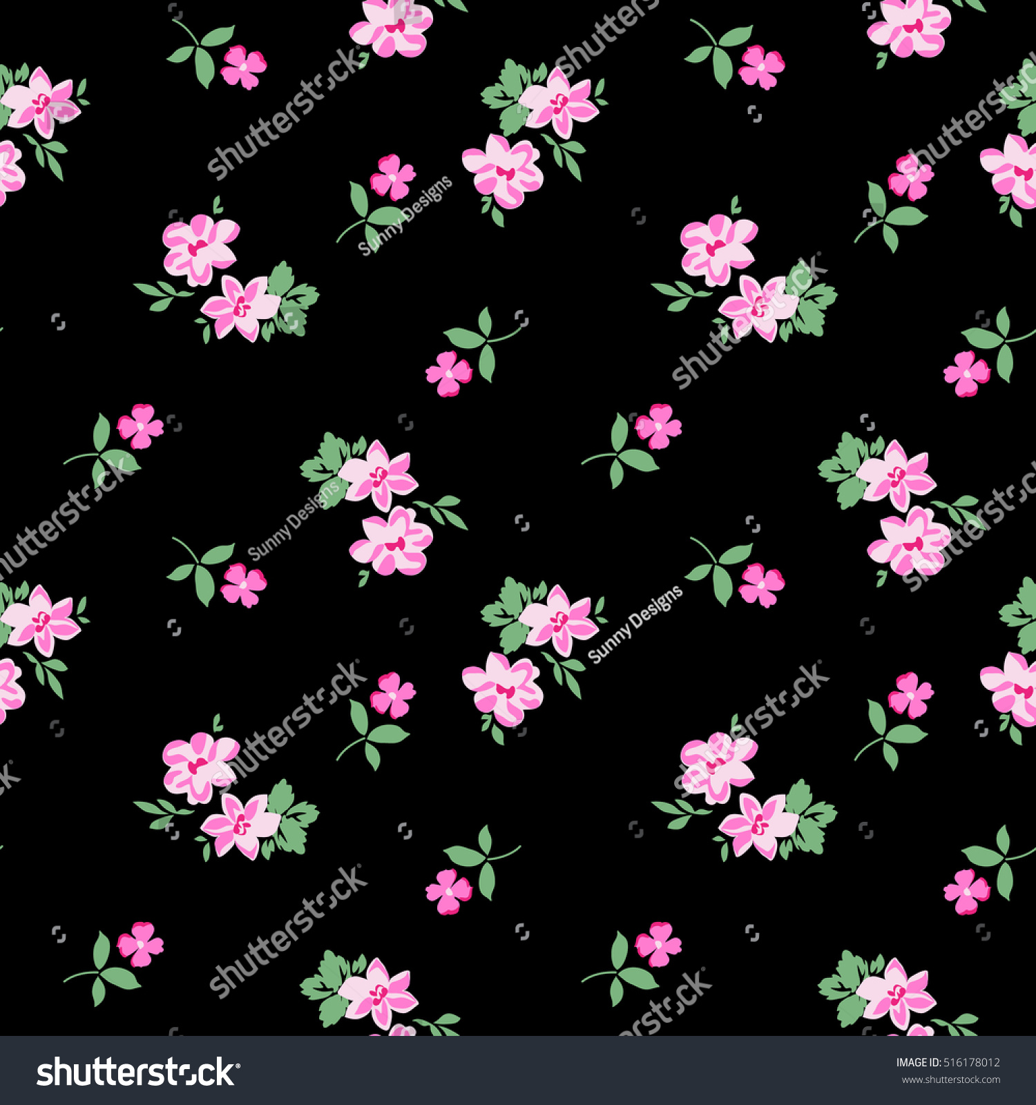 pretty ditsy flower print seamless background stock vector