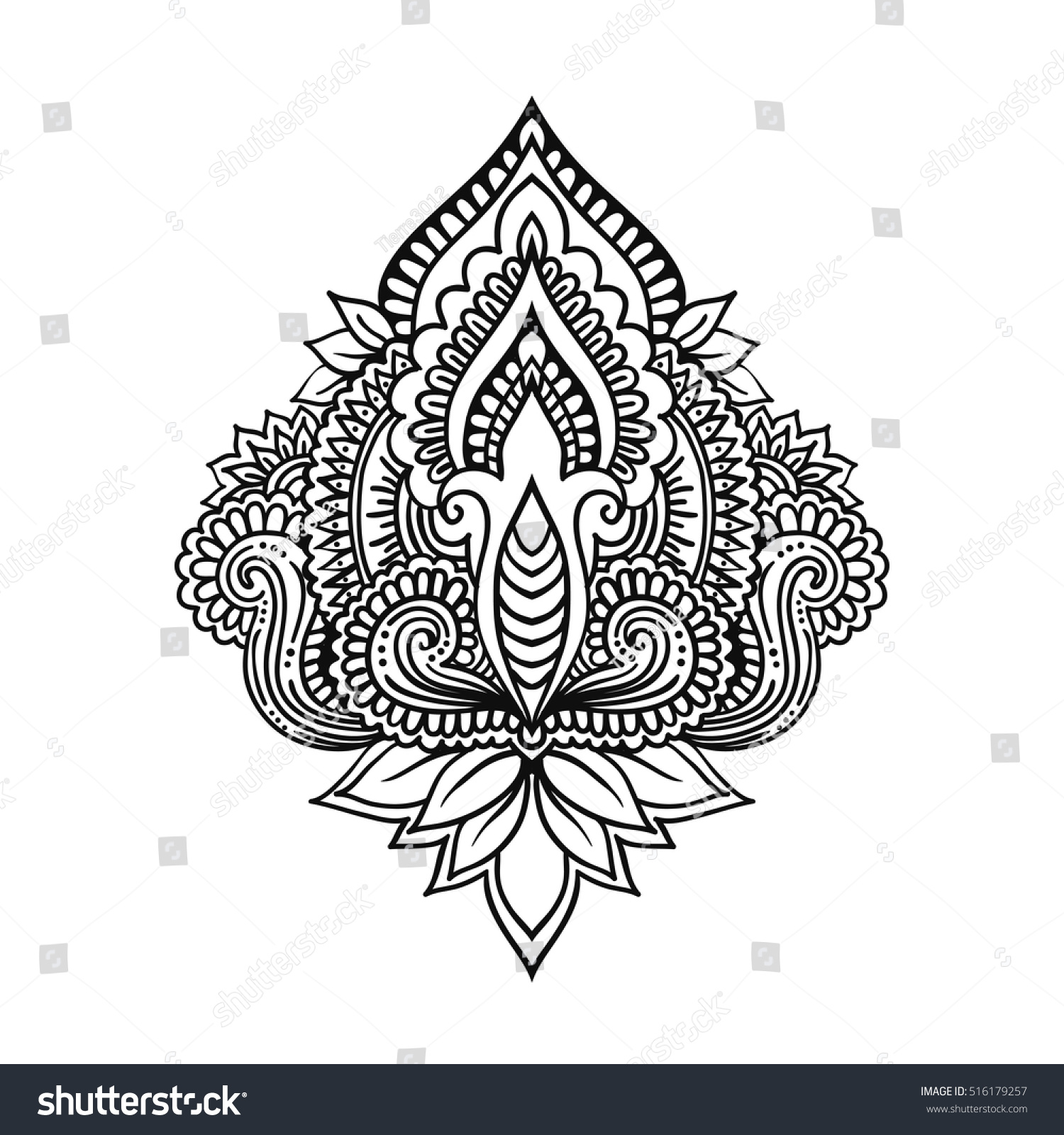Vector Ornamental Lotus Flower Ethnic Art Patterned Indian Paisley