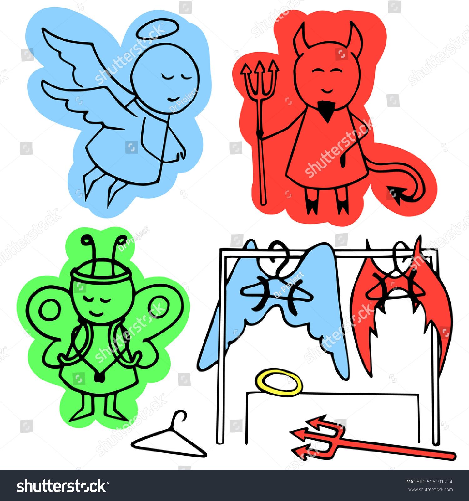 Girl Between Angel Demon Vector Colorful Stock Vector 516191224 ...