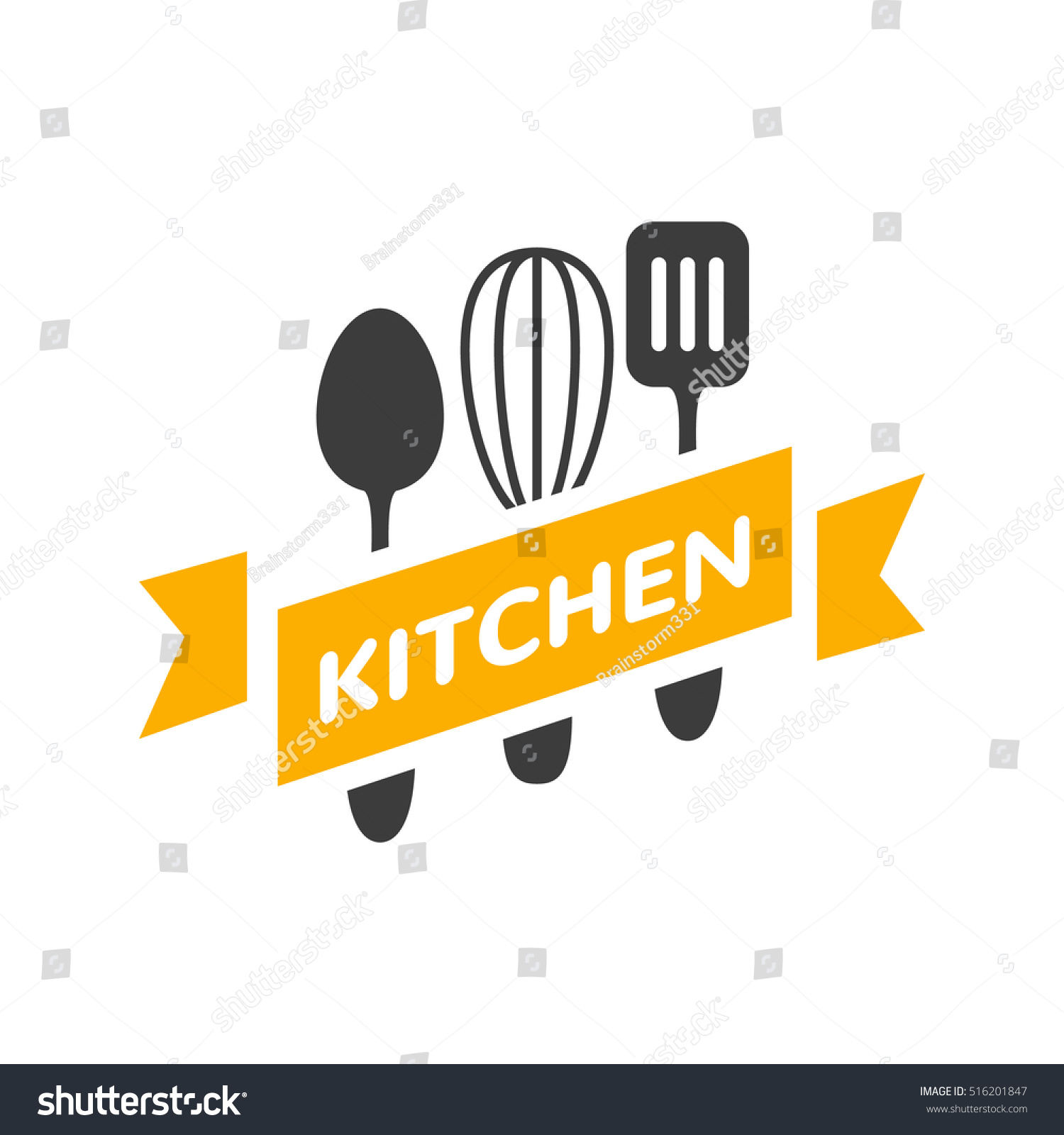 Restaurant Kitchen Toolste food studio vector logo concept kitchen stock vector 516201847