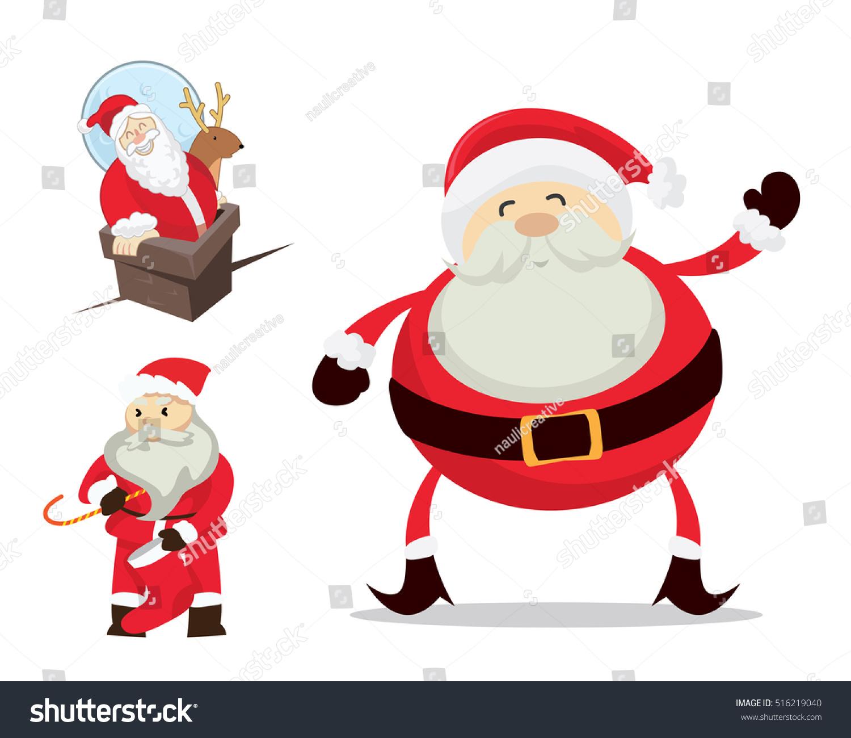 cute santa claus christmas activities character stock vector