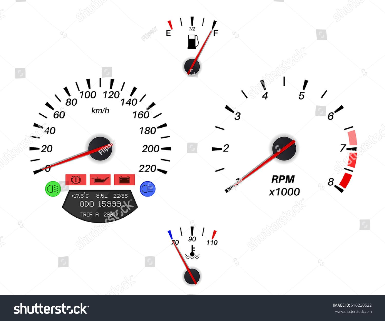 Car Dashboard Signs Speedometer Tachometer Fuel Stock Vector - Car signs on dashboardcar dashboard signs speedometer tachometer fuel and temperature