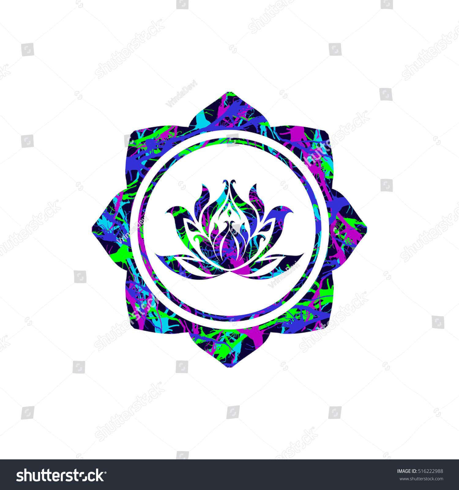 Royalty free lotus flower sign vector buddhist 516222988 stock lotus flower sign vector buddhist religious sacred symbol lotus illustration with oriental textured lotus mightylinksfo