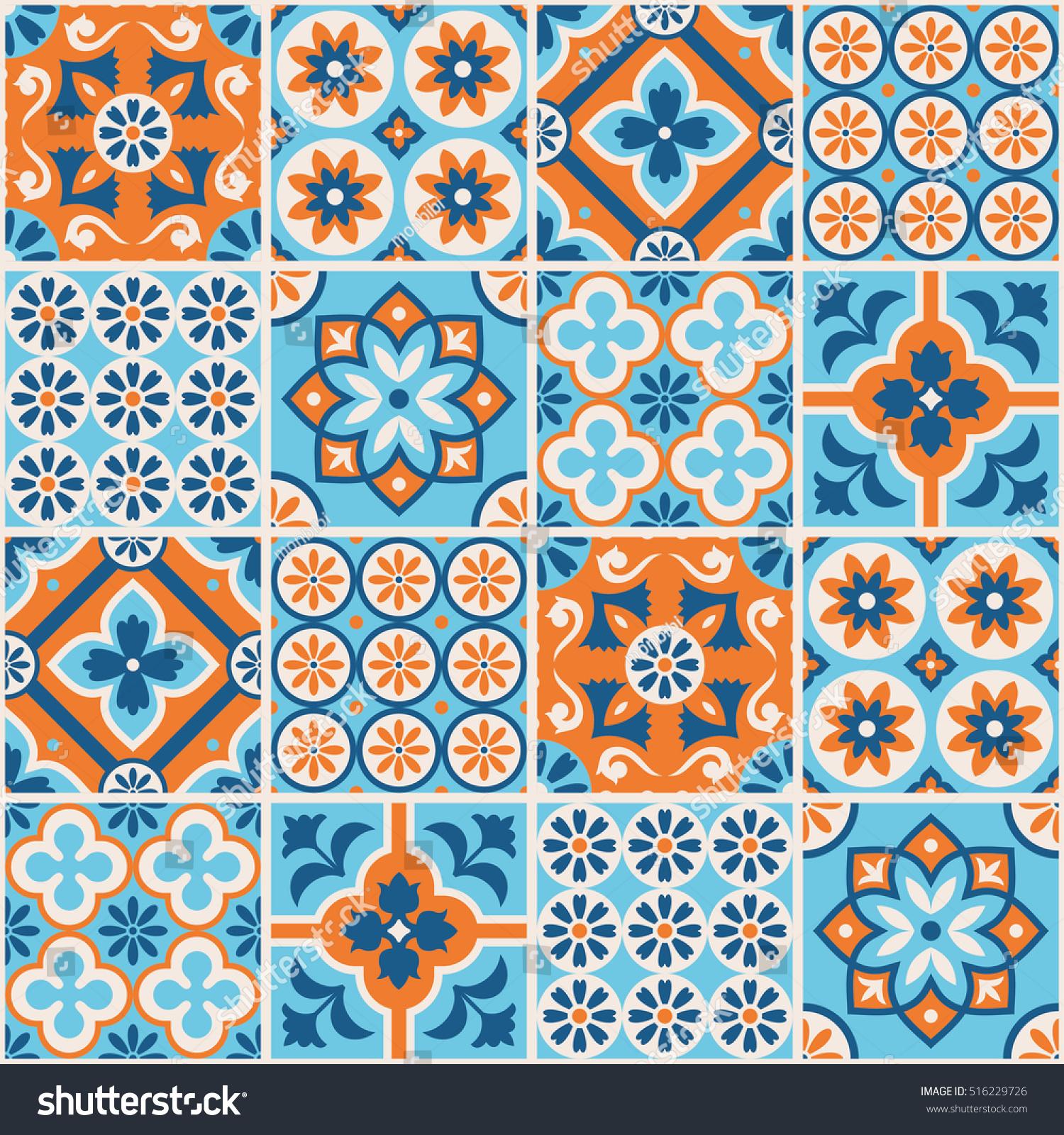 Decorative Blue Orange Tile Pattern Design Stock Vector 516229726 ...