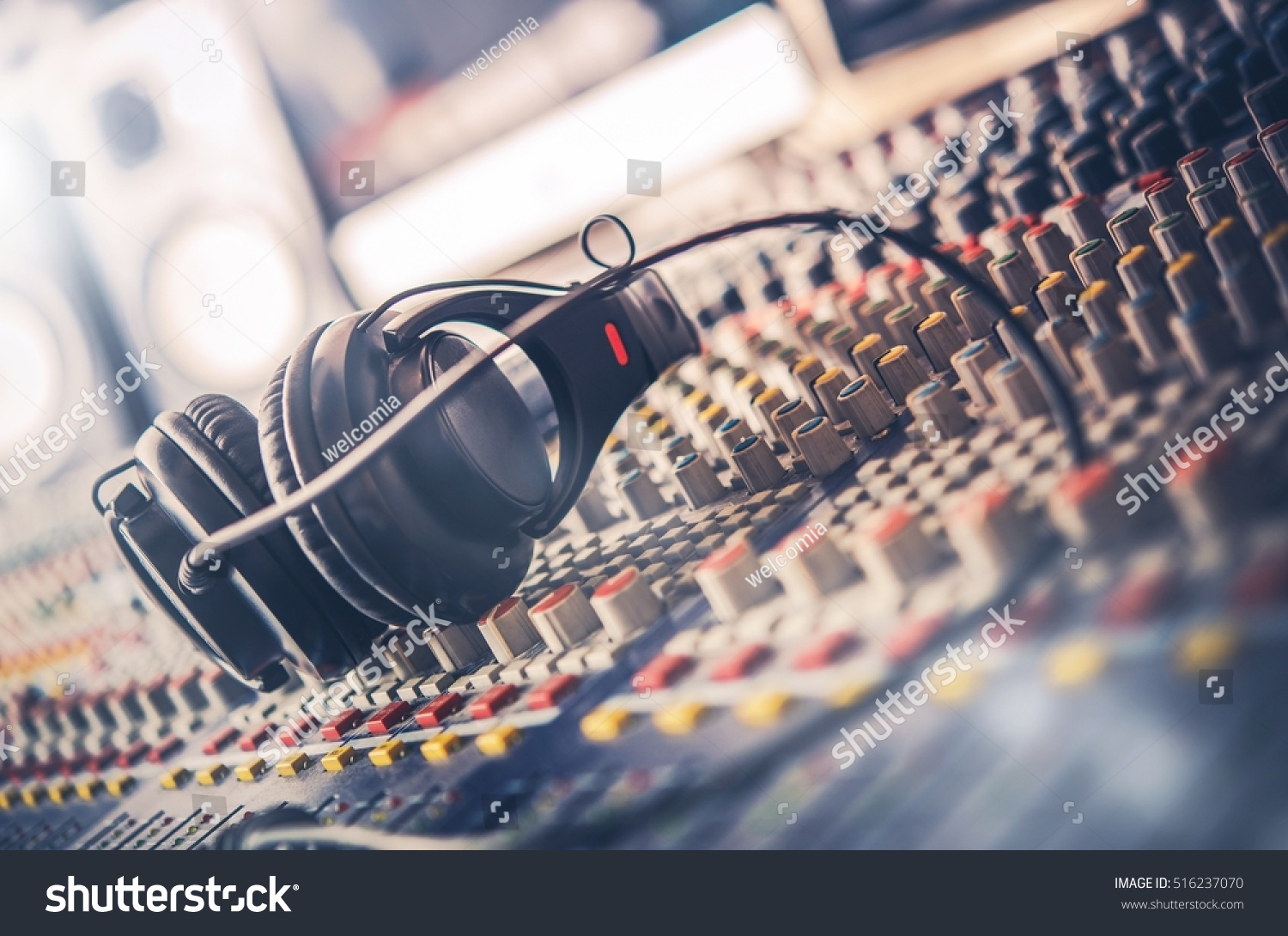 Mixer Professional Headphones Recording Studio Sound Stock Photo Cb Radio Wiring And In The Mixing Desk Mastering For