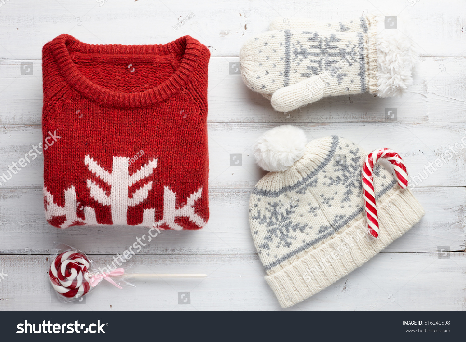 Winter Holiday Knitted Sweater Mittens Cap Stock Photo (Edit Now ...