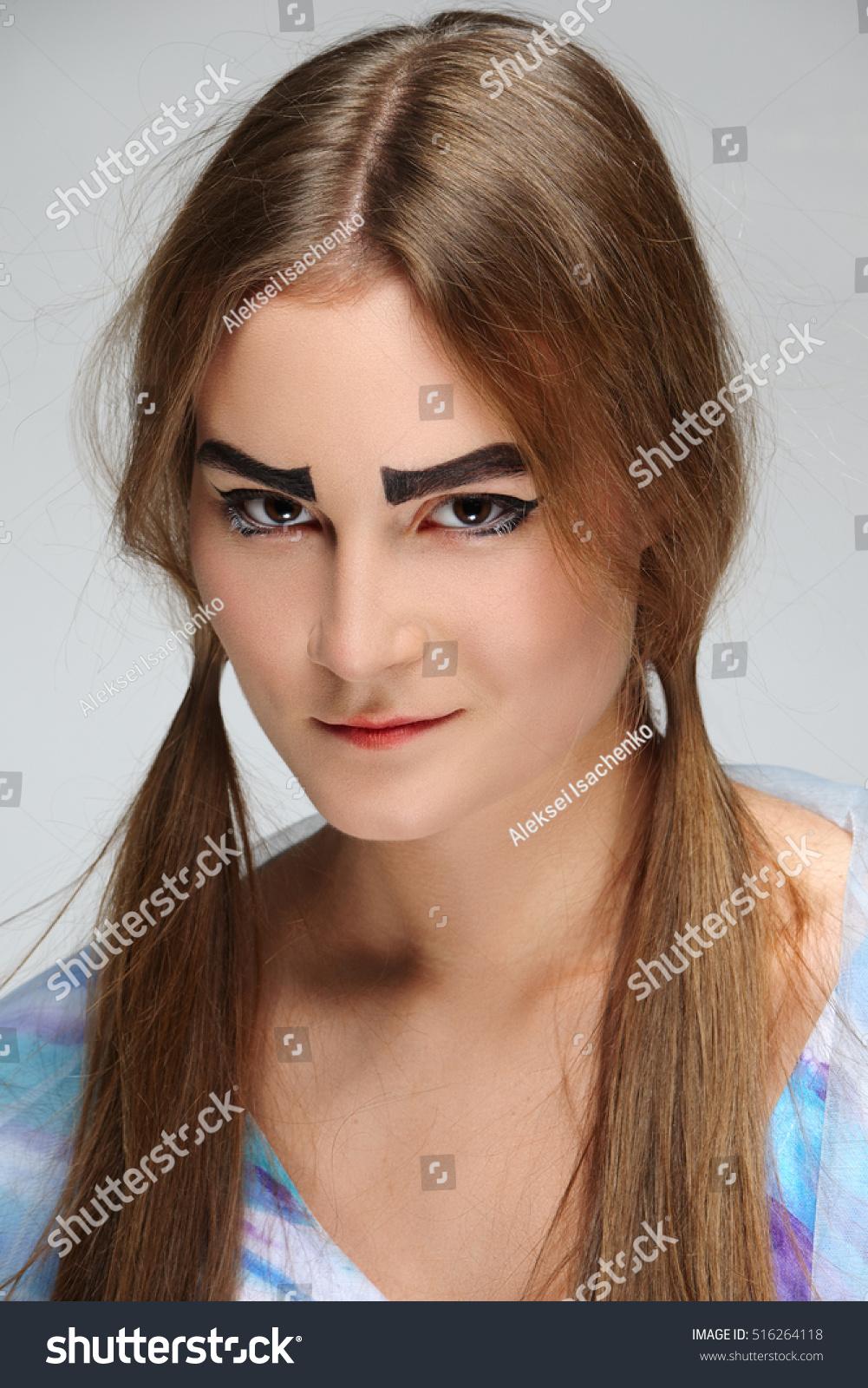 Girl Bushy Eyebrows Pigtails Hippie Dress Stock Photo Edit Now