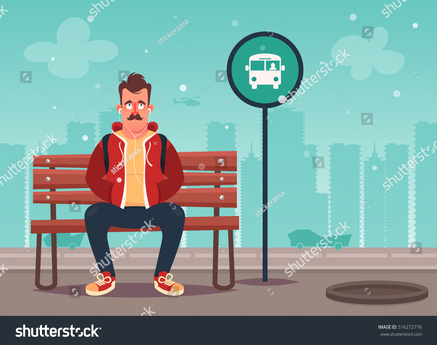 Funny Cartoon Character Cool Hipster Sitting Stock Vector ...