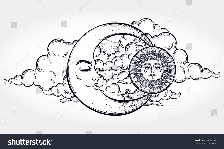 Vintage Hand Drawn Moon Sun Night Stock Vector 516293752
