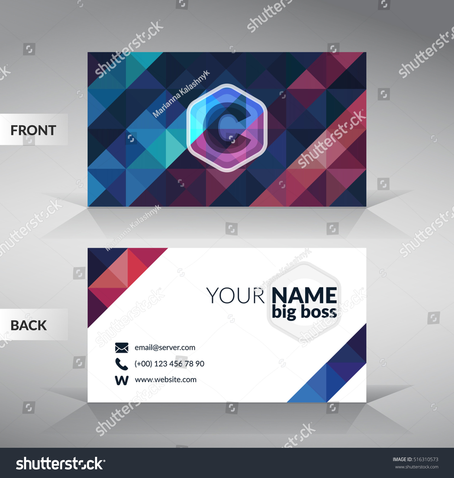 colorful stylish business card template modern stock vector