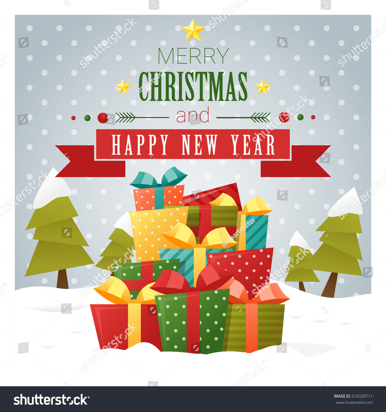 Merry Christmas Happy New Year Greeting Stock Vector 516328711