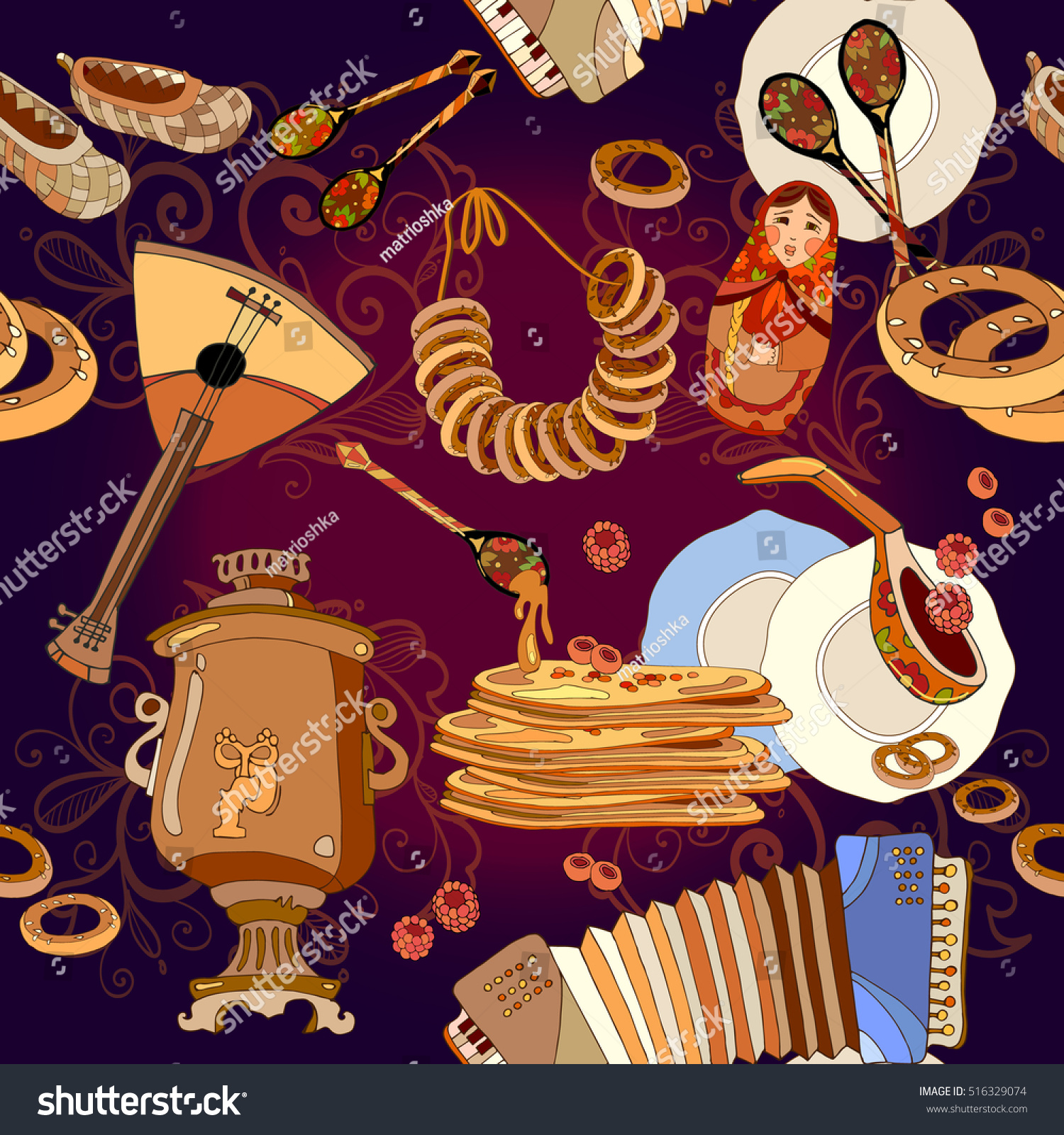 russian cuisine seamless pattern pancakes samovar stock vector  russian cuisine seamless pattern pancakes samovar balalaika russian culture and traditions