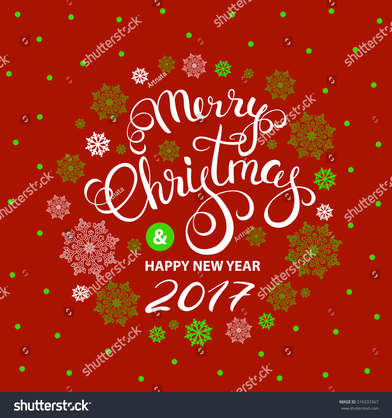 Christmas Greeting Card Black Green Snowflakes Stock Vector Royalty