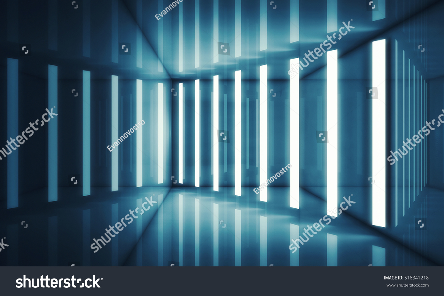 Abstract blue room interior with stripes of neon lights and reflections   Futuristic architecture background. Abstract Blue Room Interior Stripes Neon Stock Illustration