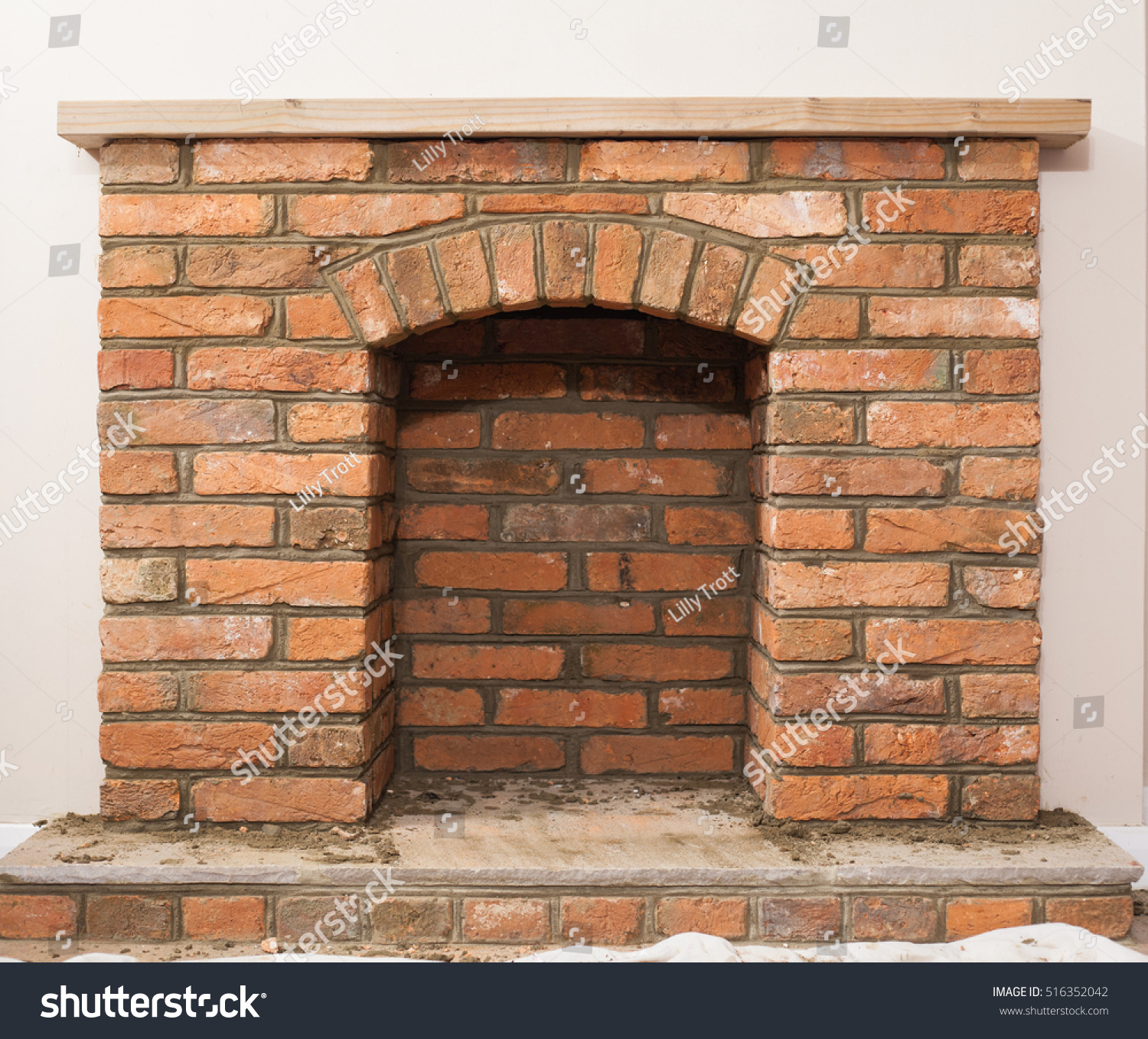 indoor diy project building fireplace house stock photo 516352042