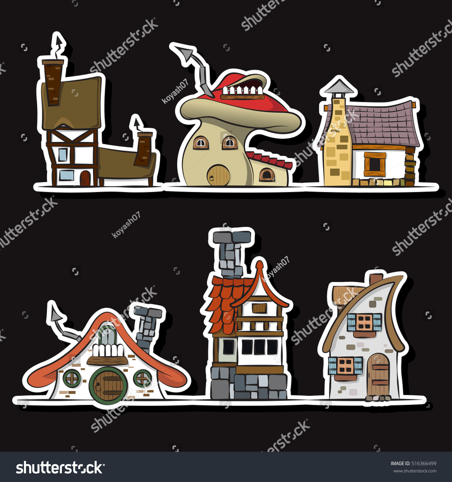 Fairy Houses Set Stickers Collection Toy Stock Vector