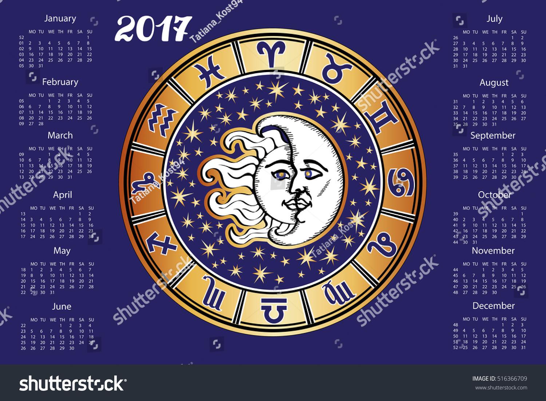 2017 New Year Calendar Horoscope Circle Stock Vector Royalty Free