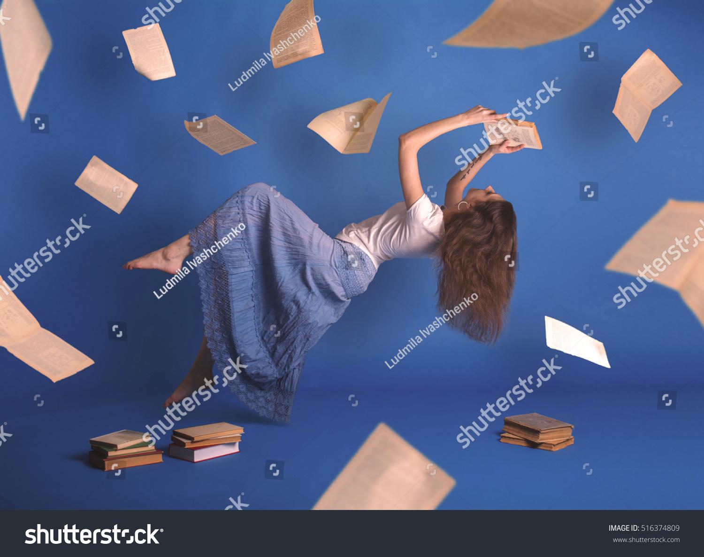 Surreal Creative Design Levitation Flying Woman Stock ...