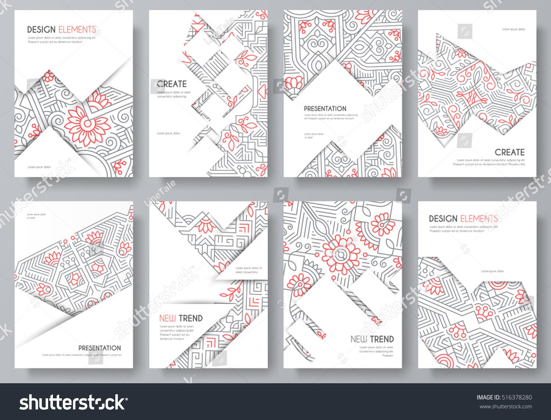 art brochure template - abstract vector brochure cards set outline stock vector