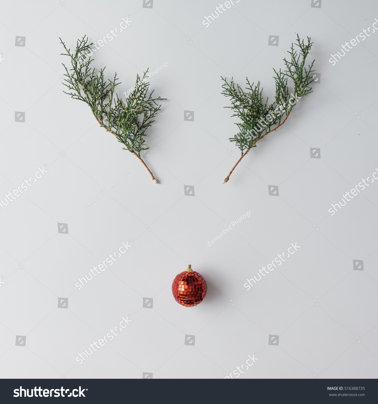 Pine Branches For Decoration Reindeer Face Made Christmas Decoration Pine Stock Photo 516388735