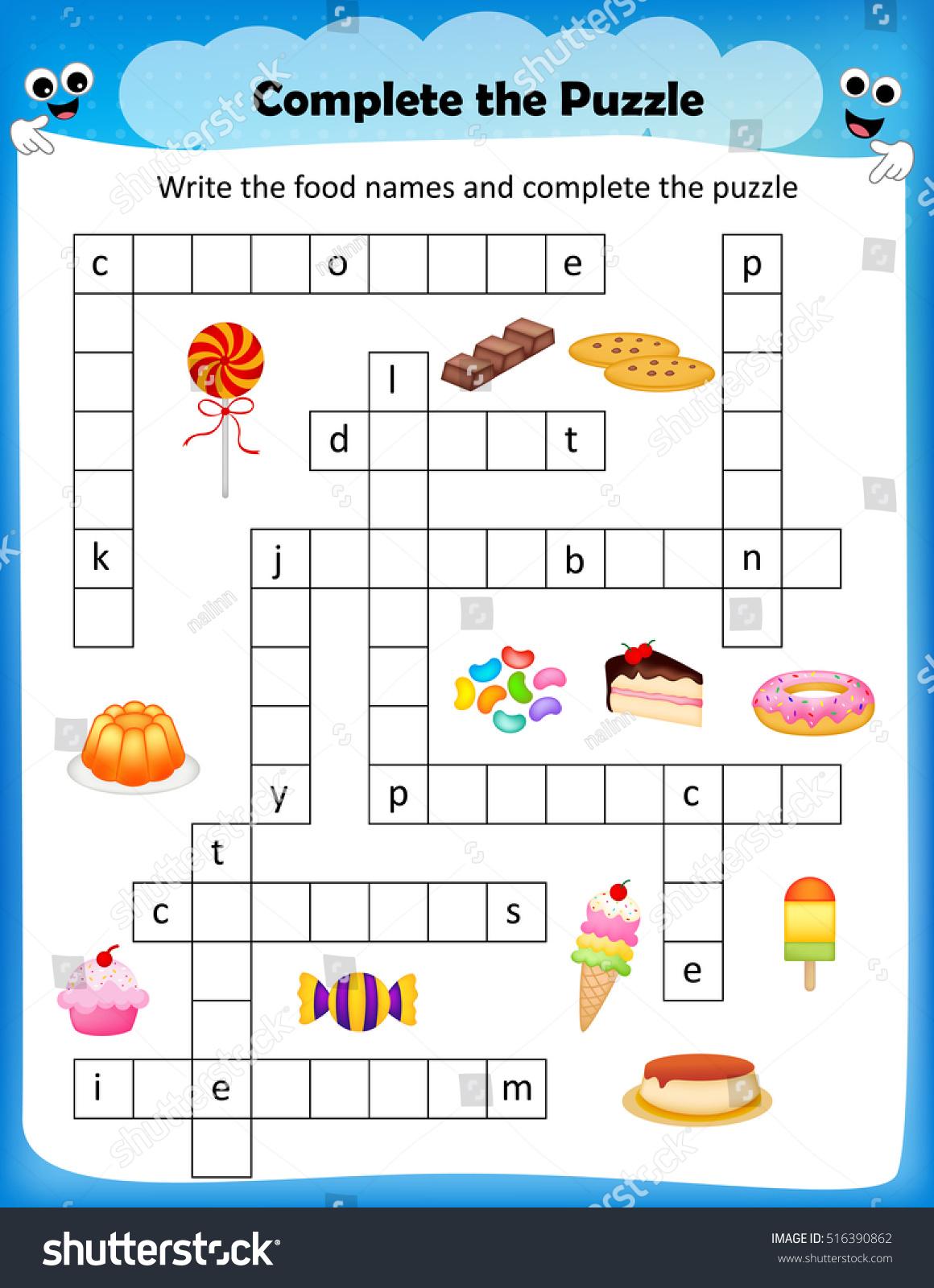 Worksheets Crossword Puzzle Worksheets worksheet complete crossword puzzle sweets stock vector the for preschool kids