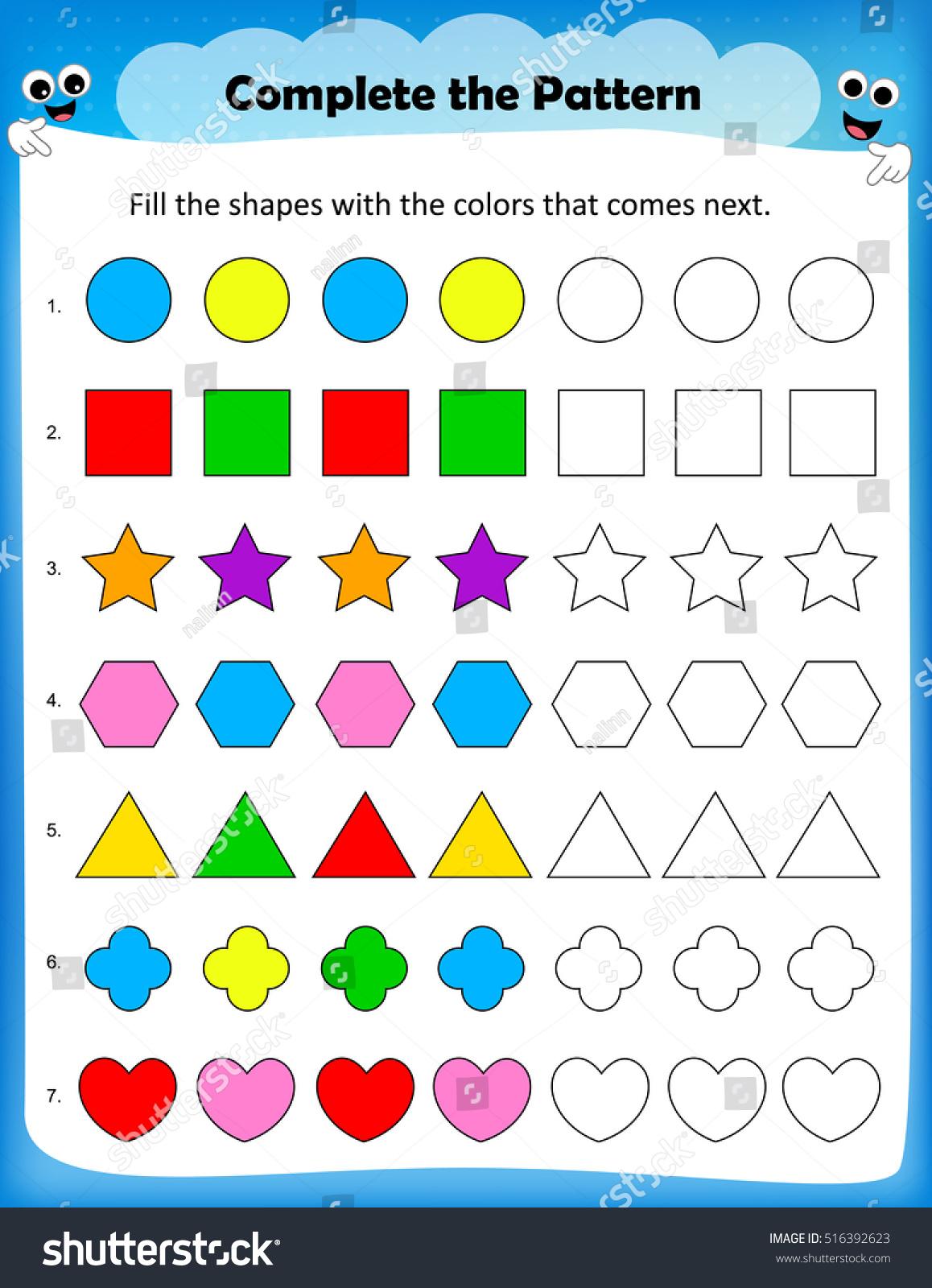 Kids Worksheet Complete Pattern Stock Vector 516392623 - Shutterstock