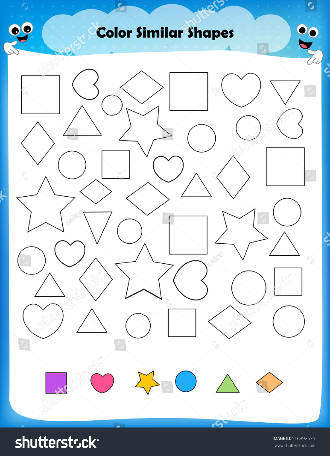 Color shape worksheets preschool - Worksheet Color Similar Shapes Worksheet For Preschool Kids
