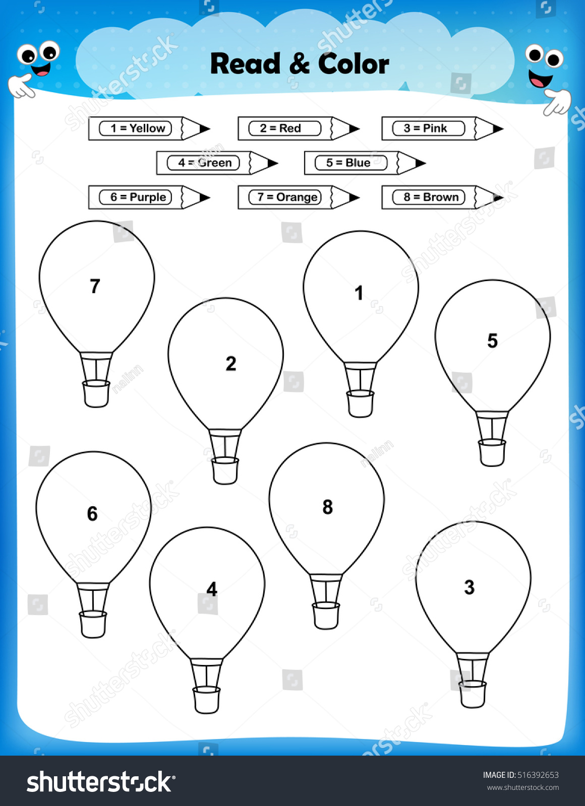 worksheet color the balloons according to the numbers worksheet for preschool kids - Color Purple Worksheets For Preschool