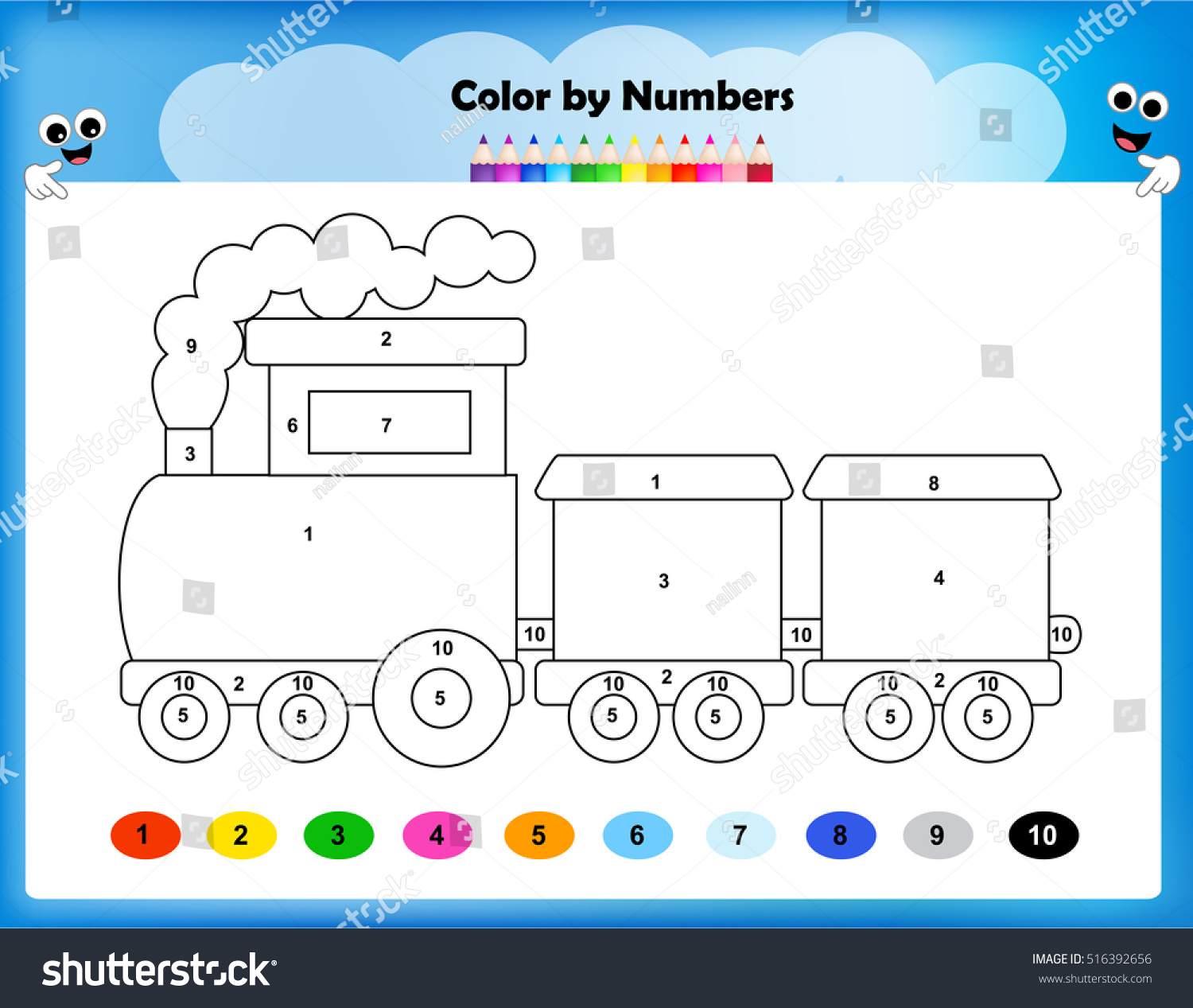 Worksheet Color By Numbers Train Worksheet Stock Vector 516392656 ...
