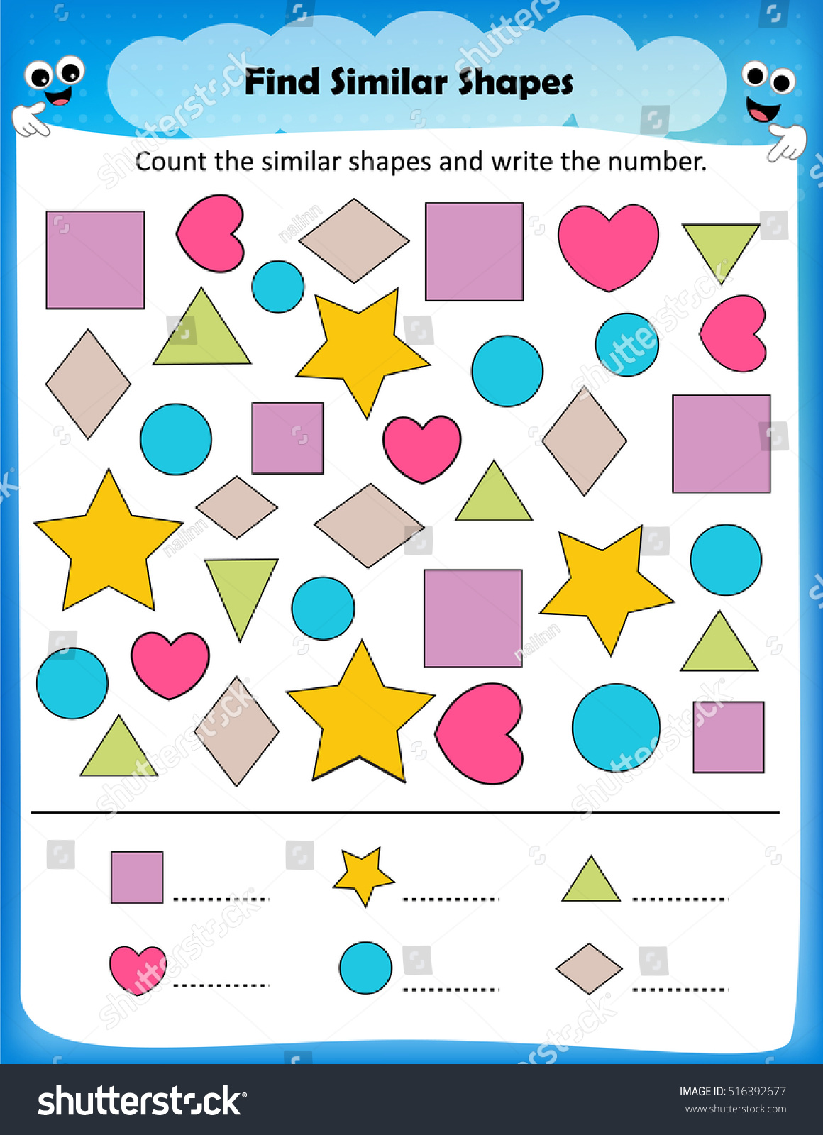 Worksheet Count Similar Shapes Worksheet Preschool Stock