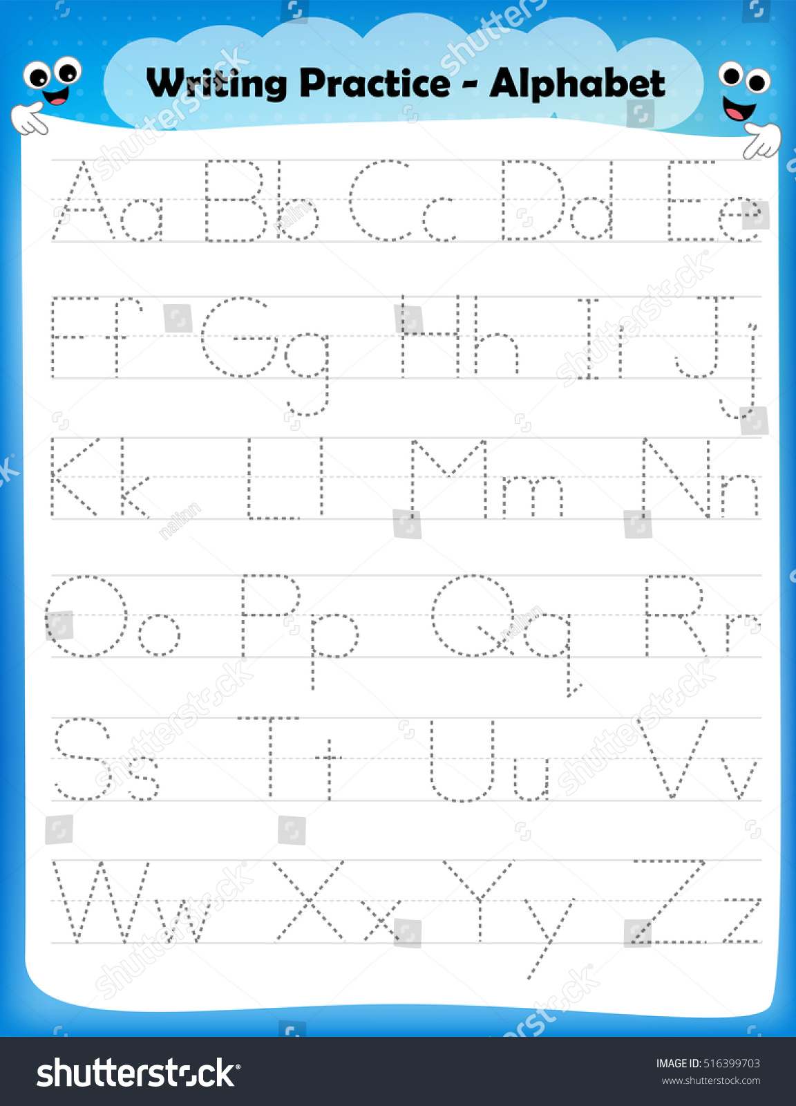 alphabet letters tracing worksheet all alphabet stock vector 516399703 shutterstock. Black Bedroom Furniture Sets. Home Design Ideas