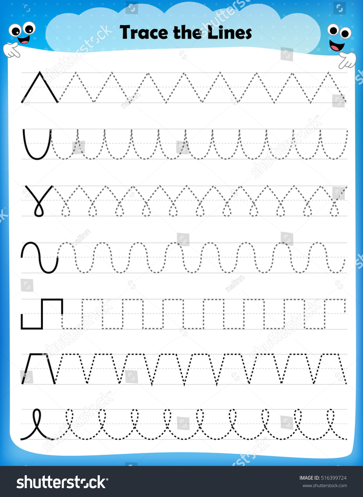 Vector Drawing Lines Worksheet : Preschool worksheet trace shapes color basic stock vector
