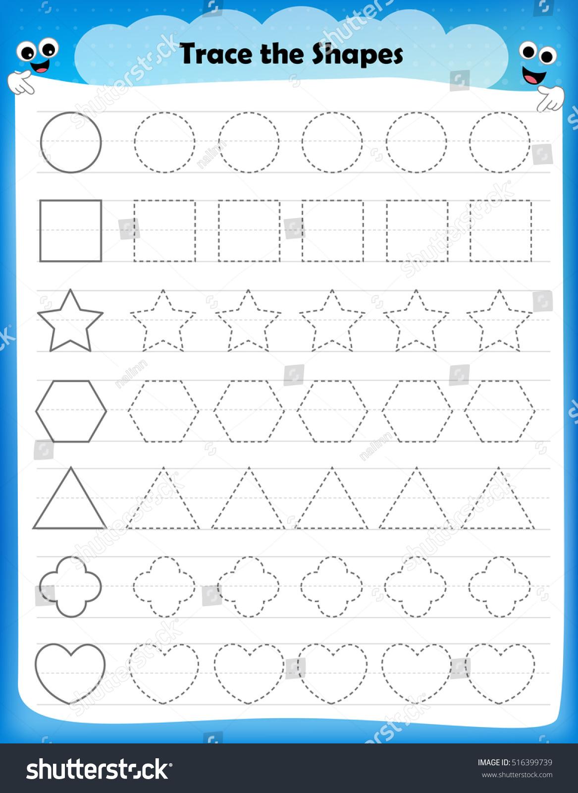 Workbooks shapes tracing worksheets preschool : Preschool Worksheet Kids Tracing Shapes Writing Stock Vector ...
