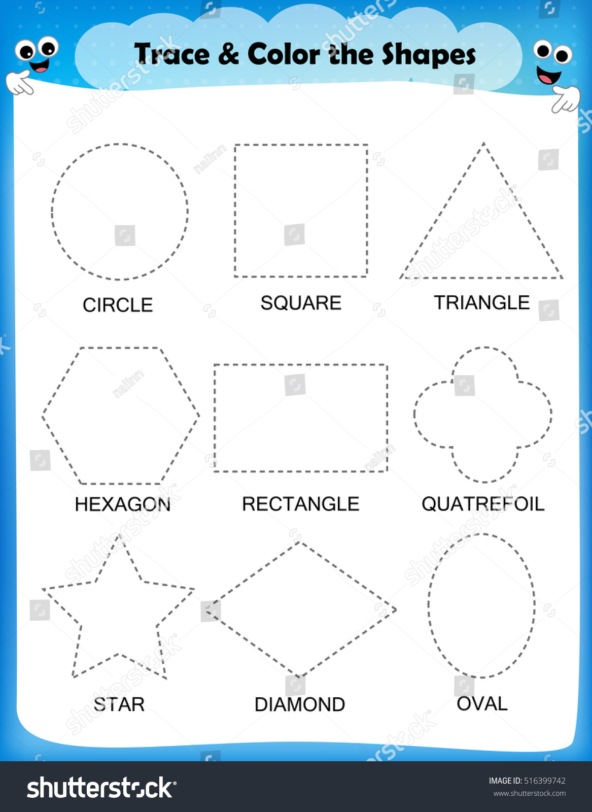 preschool worksheet trace shapes color basic stock vector 516399742 shutterstock. Black Bedroom Furniture Sets. Home Design Ideas