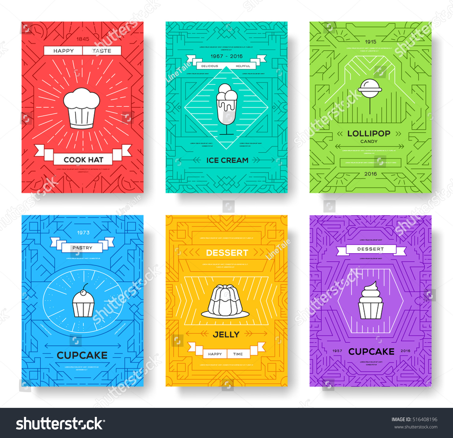 queue cards template - cake thin line brochure cards set stock vector 516408196